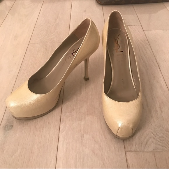 ca86d79dddb YSL Tributes size 38 Cream Patent leather